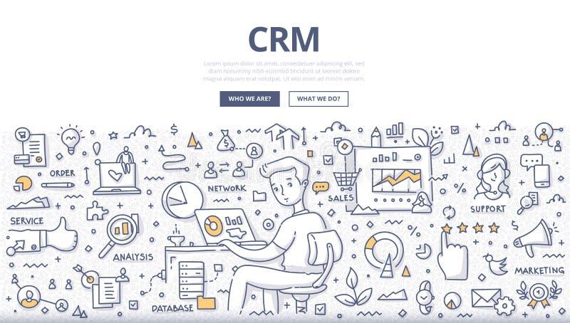 Het Concept van de customer relationship managementkrabbel royalty-vrije illustratie
