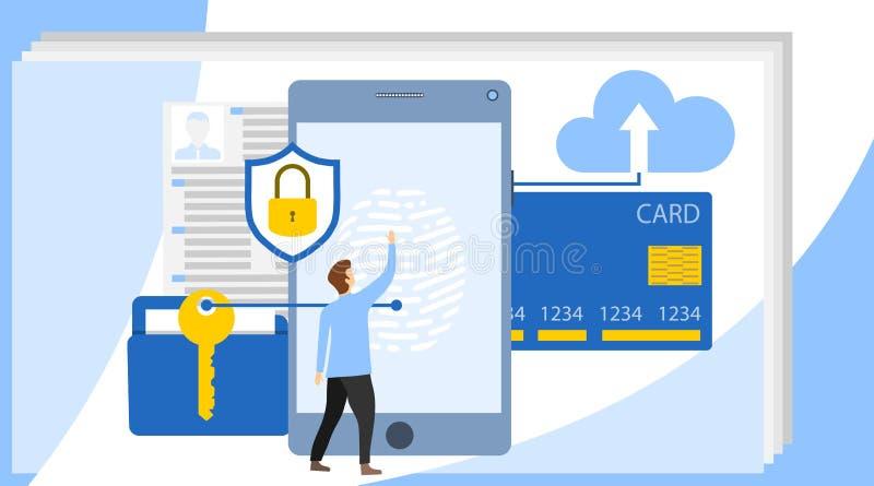 Het concept van de Cyberveiligheid met karakters Kan voor Webbanner, infographics, heldenbeelden gebruiken Het Concept van de Bes royalty-vrije illustratie
