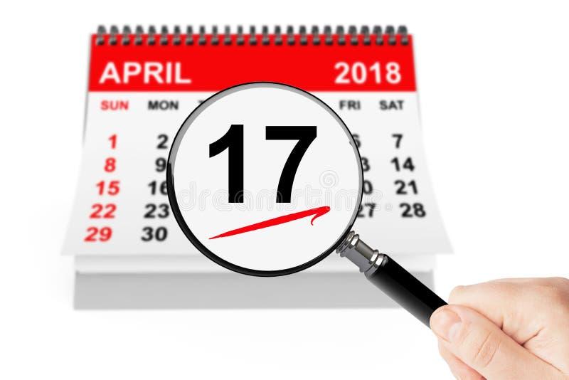Het Concept van de Dag van de belasting 17 de kalender van april 2018 met meer magnifier stock foto