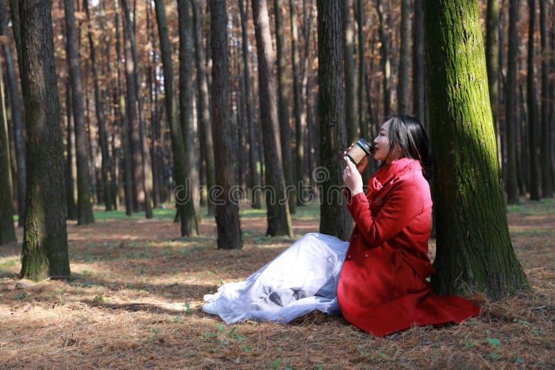 Het concept van de daling - de herfstvrouw het drinken koffie stock foto's