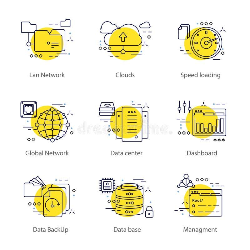 Het Concept van de Datacenterlijn royalty-vrije illustratie