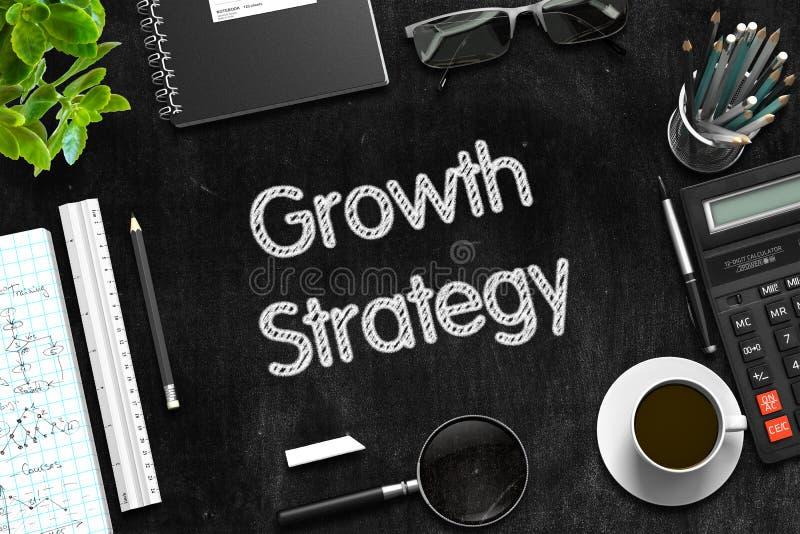 Het Concept van de de groeistrategie op Zwart Bord het 3d teruggeven vector illustratie