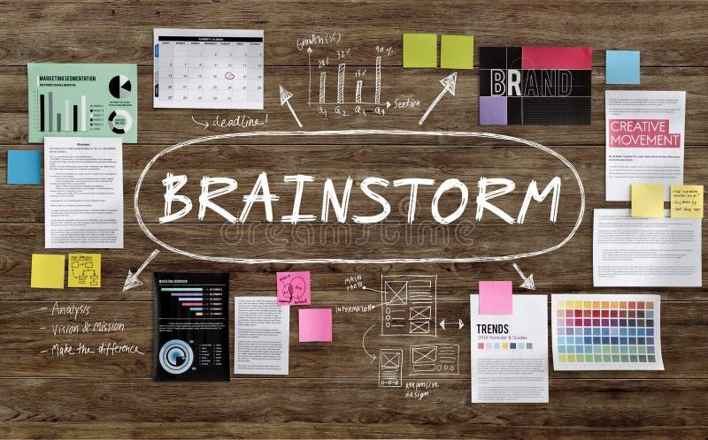Het Concept van de de Ideeënanalyse van de uitwisselings van ideeëninspiratie stock foto