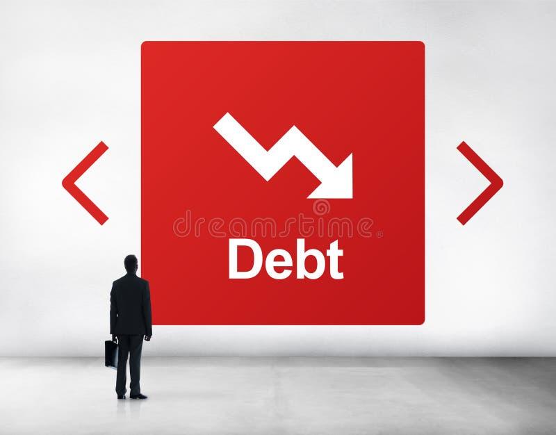Het Concept van de de Moeilijkheidsval van het schuldrisico royalty-vrije stock fotografie