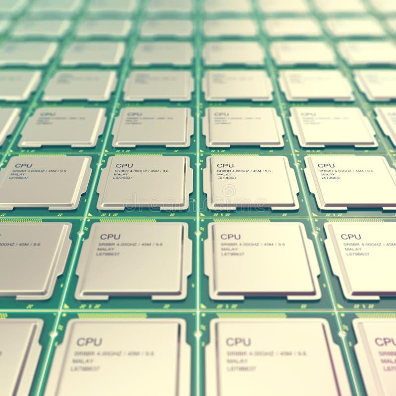 Het concept van de de spaanderelektronische industrie van computerpc cpu, close-up viewmodern bewerkers met diepte van gebiedseff vector illustratie