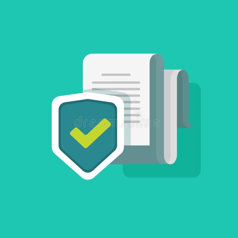 Het concept van de documentbescherming, vertrouwelijk informatie en privacyidee, de toegang van de veiligheidsdocumentatie of doc stock illustratie