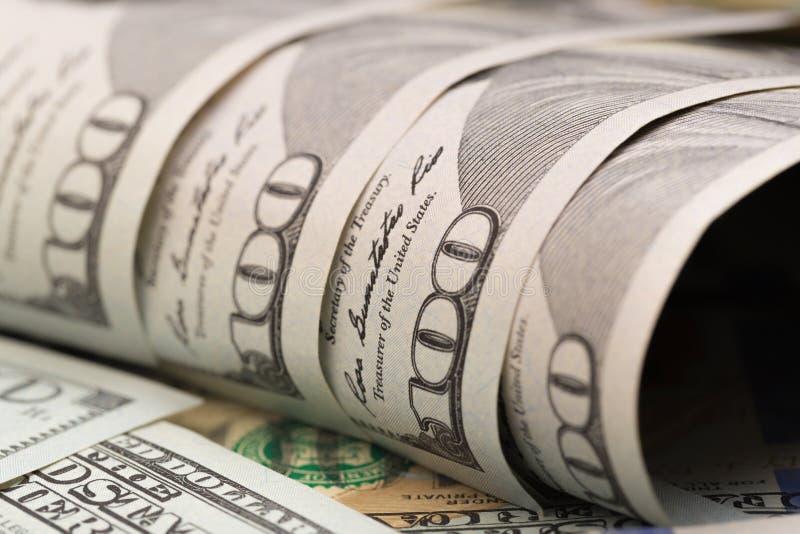 Het Concept van de dollarsclose-up Het Amerikaanse Geld van het Dollarscontante geld Honderd dollarsbankbiljetten - Beeld royalty-vrije stock afbeelding