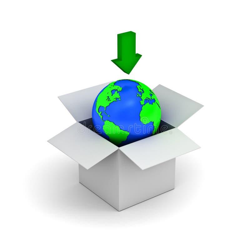 Het concept van de download, aardebol in een witte doos stock illustratie