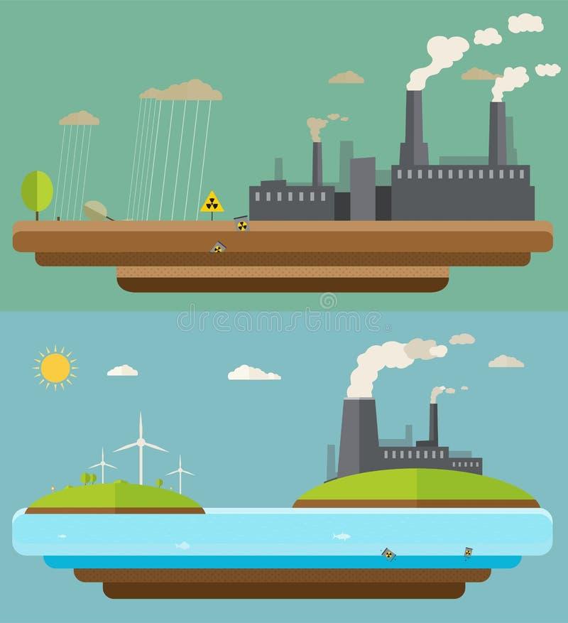 Het concept van de ecologie Groene energie en milieuverontreinigingsontwerpen