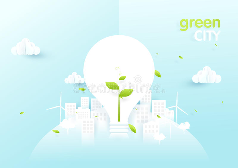 Het concept van de Ecostad Gloeilampen met jong boompje in groene ecologiestad royalty-vrije illustratie