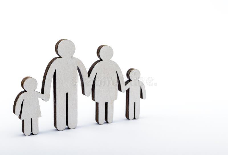 Het concept van de familie Houten cijfers stock fotografie