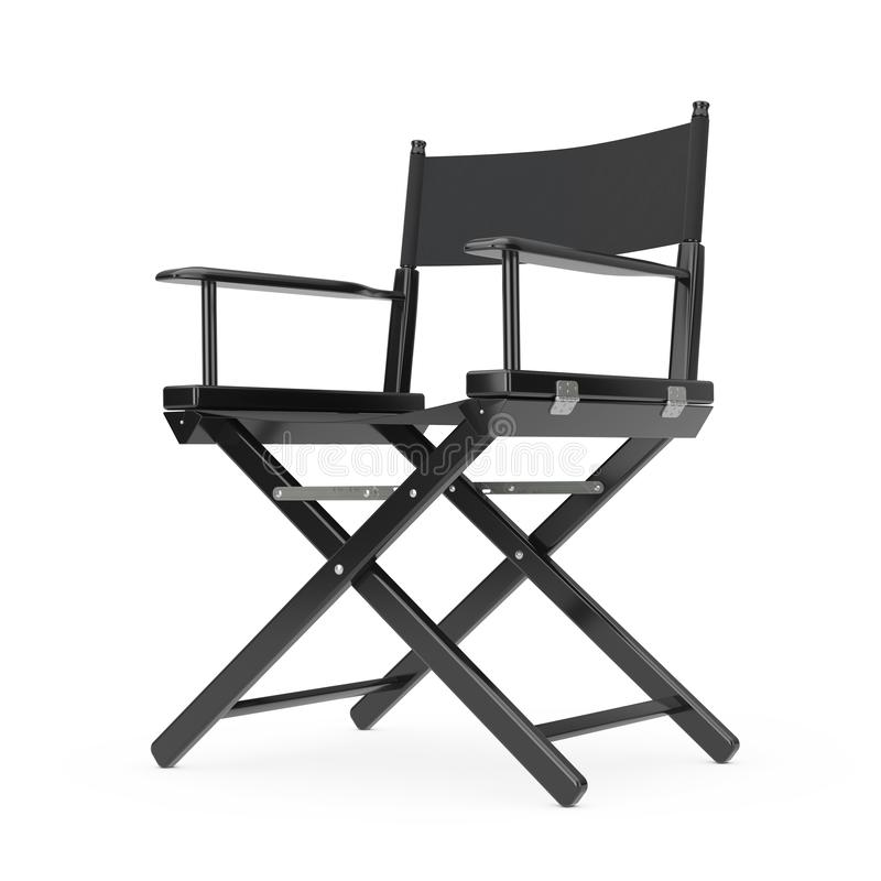 Het concept van de filmindustrie Zwarte Houten Directeur Chair het 3d teruggeven royalty-vrije illustratie