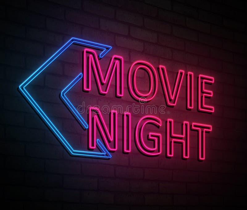 Het concept van de filmnacht royalty-vrije illustratie