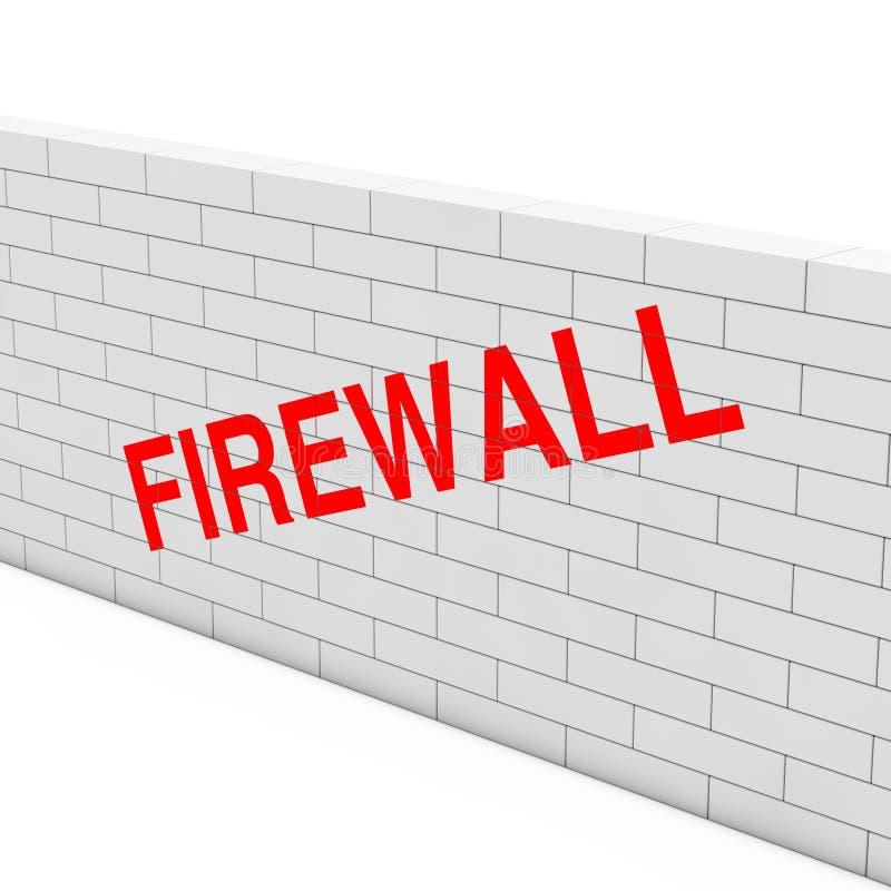 Het concept van de firewall Witte Bakstenen muur met Firewallteken 3d geef terug vector illustratie