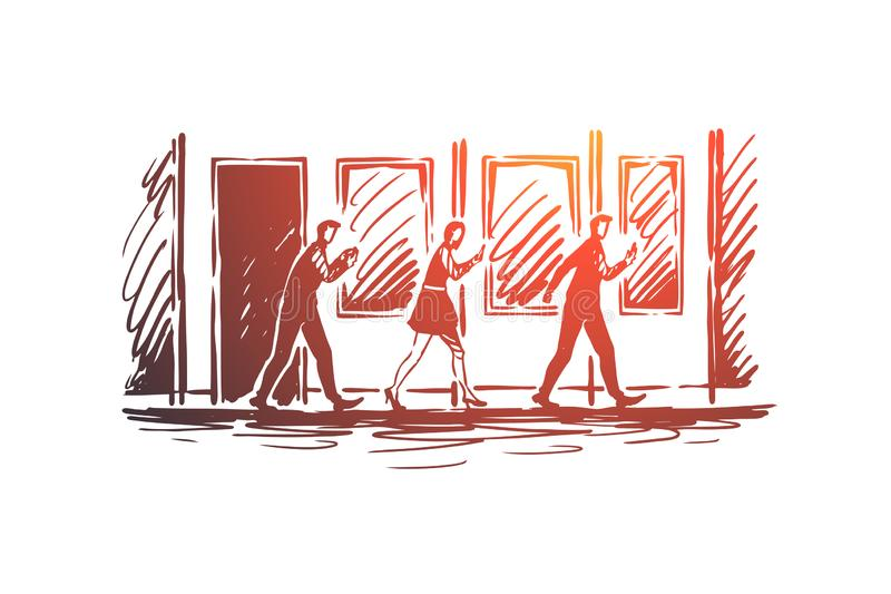 Het concept van de gadgetsverslaving Hand getrokken schets geïsoleerde illustratie stock illustratie