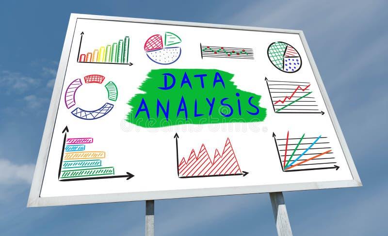 Het concept van de gegevensanalyse op een aanplakbord stock afbeeldingen