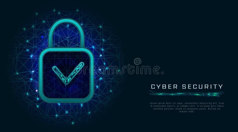 Het concept van de gegevensbeschermingprivacy met digitaal hangslot en vinkje op abstracte veelhoekige achtergrond Netwerkbeveili stock illustratie