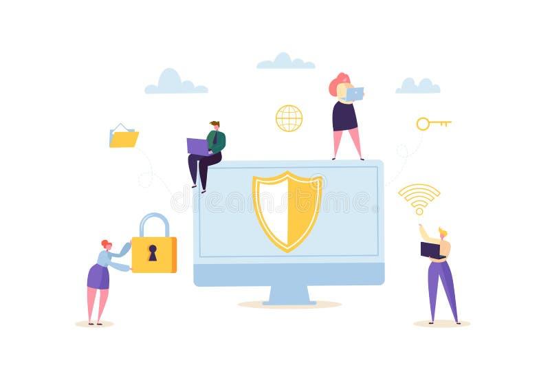 Het concept van de gegevensbeschermingprivacy Vertrouwelijke en Veilige Internet-Technologieën met Karakters die Computers en Gad vector illustratie