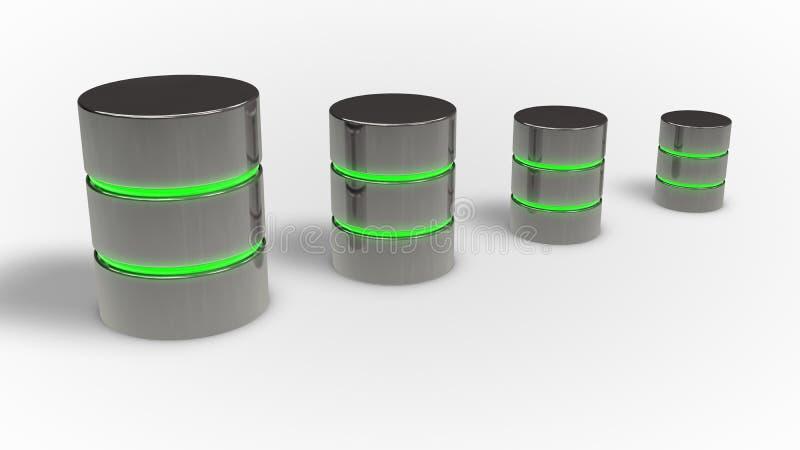 Het concept van de gegevensbestandgroei Vier metaalpictogram met groene gloed vector illustratie