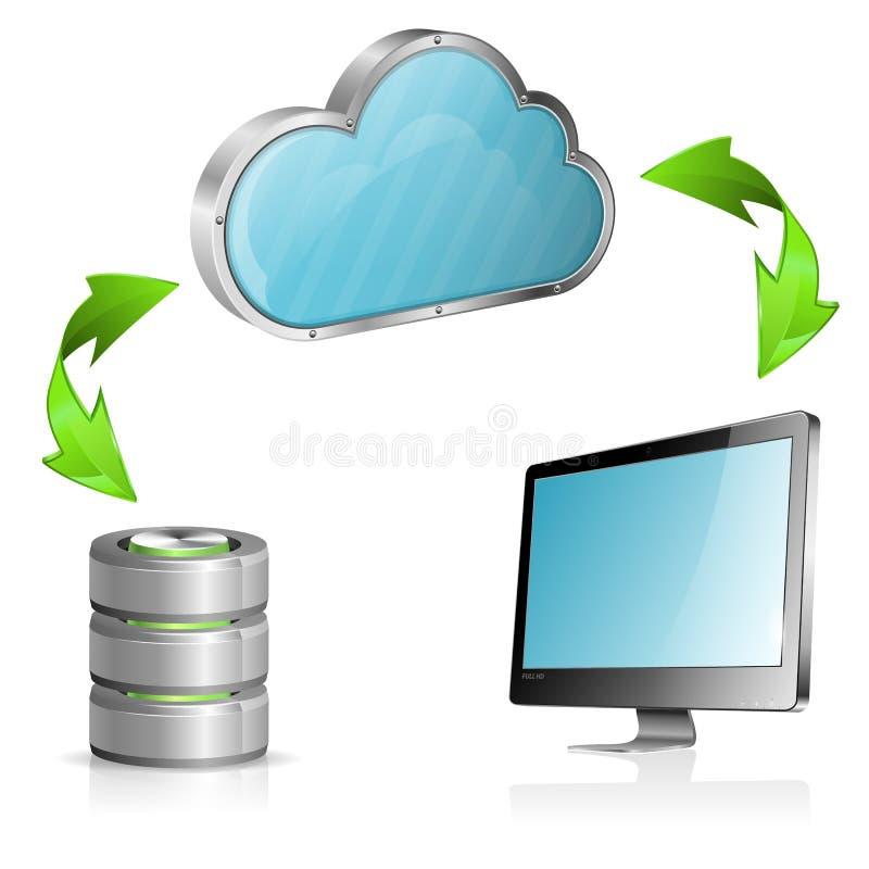 Het Concept van de Gegevensverwerking van de wolk vector illustratie