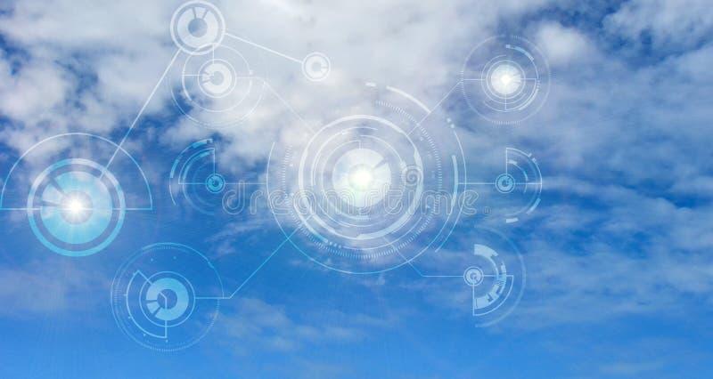 Het concept van het de gegevensverwerkingsnetwerk van de wolk Gouden Tekst op Donkere Achtergrond Database en servers stock foto