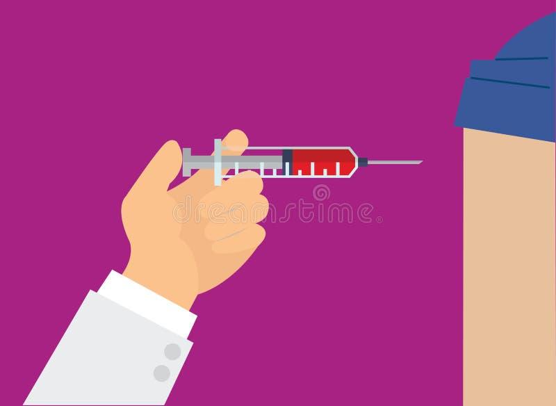 Het concept van de geneeskundegezondheidszorg Arts Hand die met spuit vac maken stock illustratie