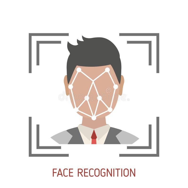 Het concept van de gezichtserkenning vector illustratie