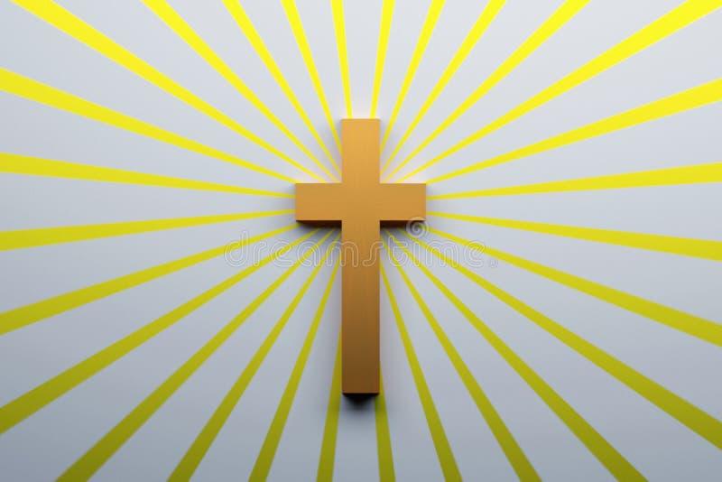 Het concept van de godsdienst Boek en kruis Dwarssymbool van Christendom royalty-vrije illustratie