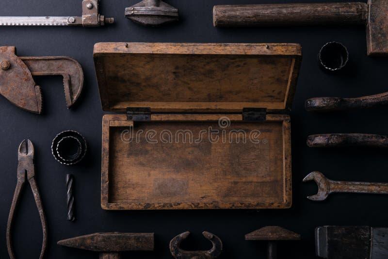 het concept van de de groetkaart van de vadersdag Vlak leg De ruimte van het exemplaar royalty-vrije stock afbeeldingen