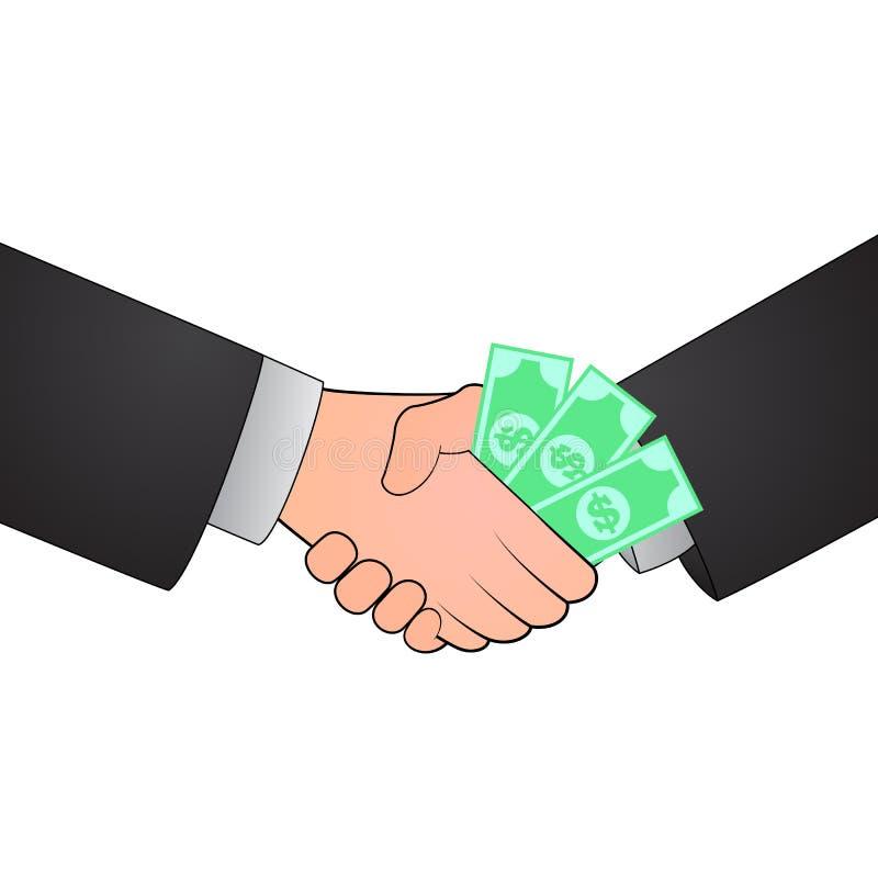 Het concept van de handdrukcorruptie royalty-vrije illustratie