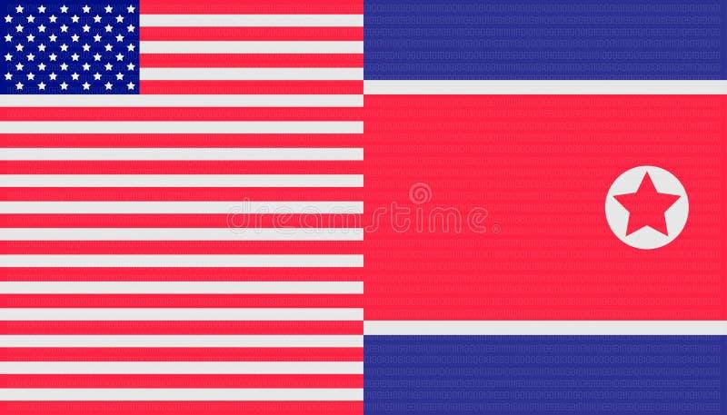 Het Concept van de handelsoorlog de Noord- van Korea vlagachtergrond van Verenigde Staten en Vector illustratie EPS10 royalty-vrije illustratie