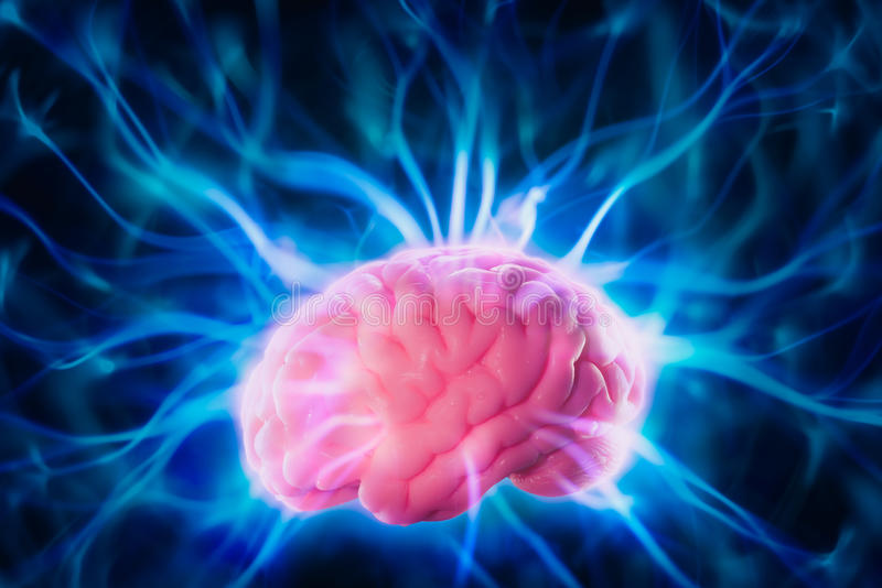 Het concept van de hersenenmacht met abstracte lichte stralen stock foto
