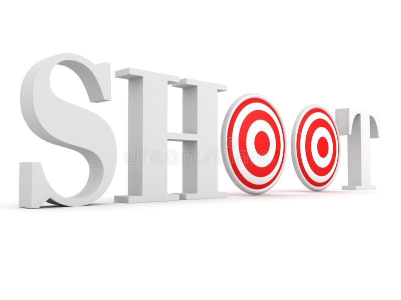 Het concept van de het doeltekst van de spruit op wit stock illustratie