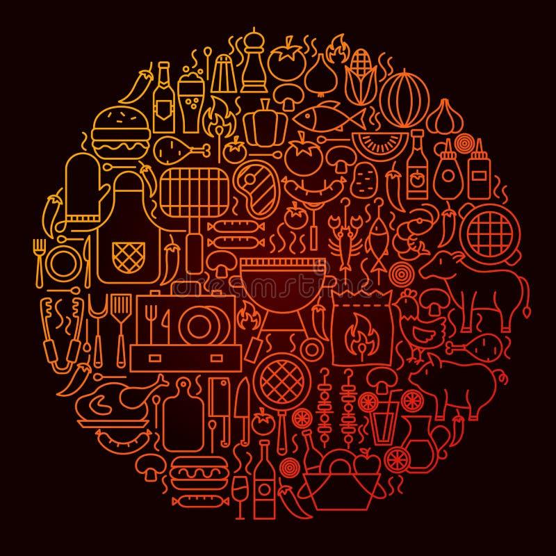 Het Concept van de het Pictogramcirkel van de barbecuelijn stock illustratie