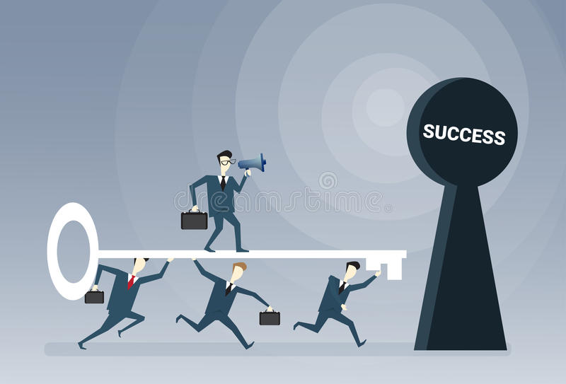 Het Concept van de het Succeskans van bedrijfsmensenteam putting key in hole stock illustratie