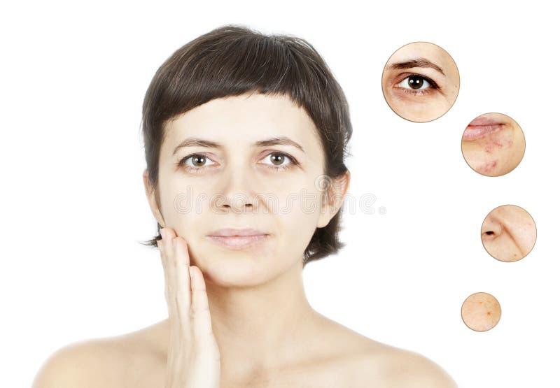 Het concept van de huidschoonheid - Close-up op het geïsoleerde gezicht van vrouwen royalty-vrije stock foto