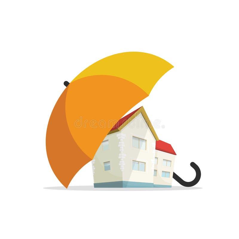 Het concept van de huisverzekering, huis onroerende goederen beschermd onder paraplu, bescherming stock illustratie