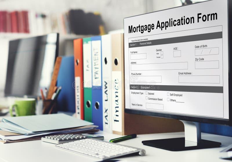 Het Concept van de Informatiedetails van het hypotheekAanvraagformulier royalty-vrije stock foto