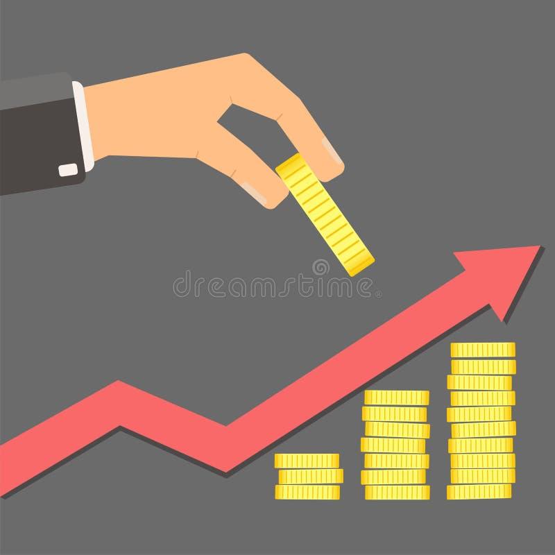 Het Concept van de investering Hand van het gouden muntstuk van de zakenmangreep en growt royalty-vrije illustratie