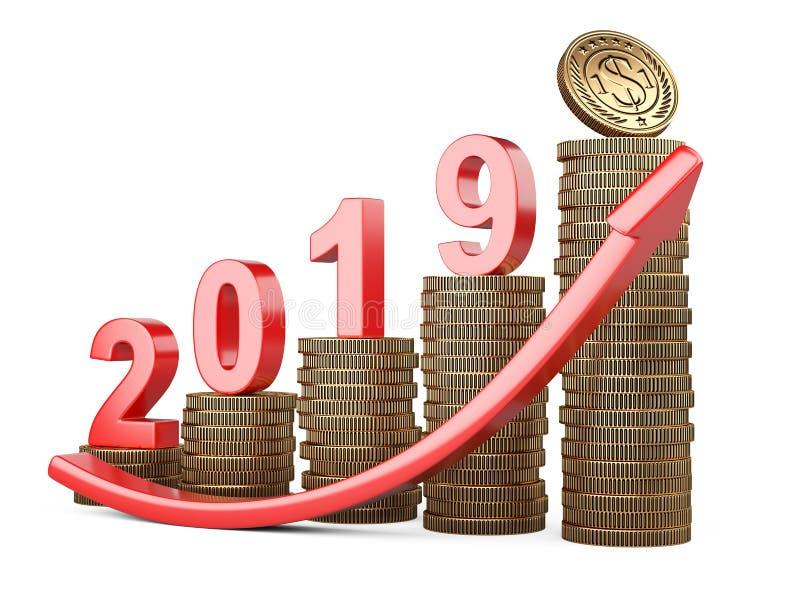 Het concept van de investeringsstrategie De stapel van de groeimuntstukken met omhoog inschrijving 2019 en pijl stock illustratie