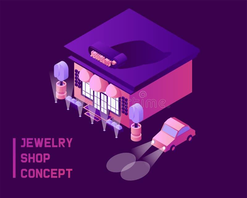Het concept van de juwelenwinkel in isometrische 3d stijl Donkerblauwe achtergrond, roze en purpere die opslagvoorzijde met gradi stock illustratie