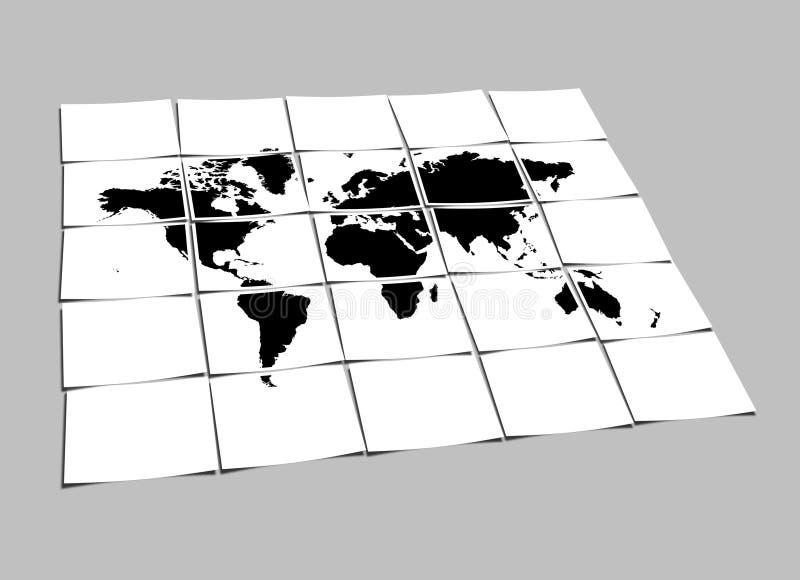 Het Concept van de Kaart van de wereld de Gescheiden Documenten van de Nota vector illustratie