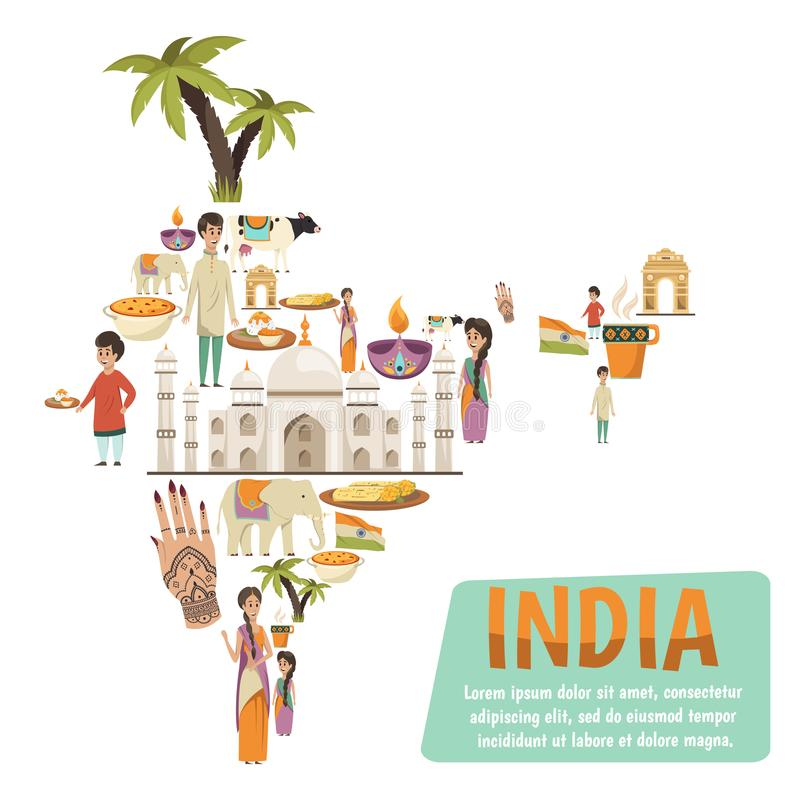 Het Concept van het de Kaartontwerp van India vector illustratie