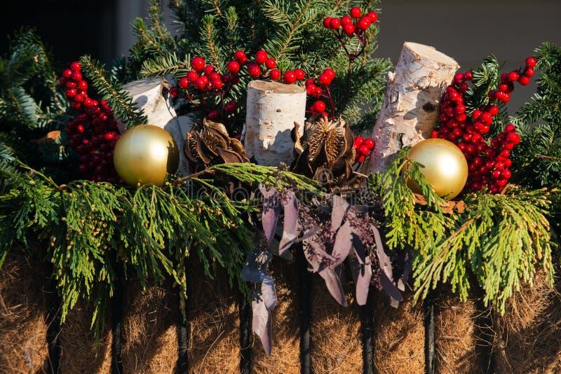 Het Concept van de Kerstmisdecoratie De traditie van de de wintervakantie royalty-vrije stock afbeeldingen
