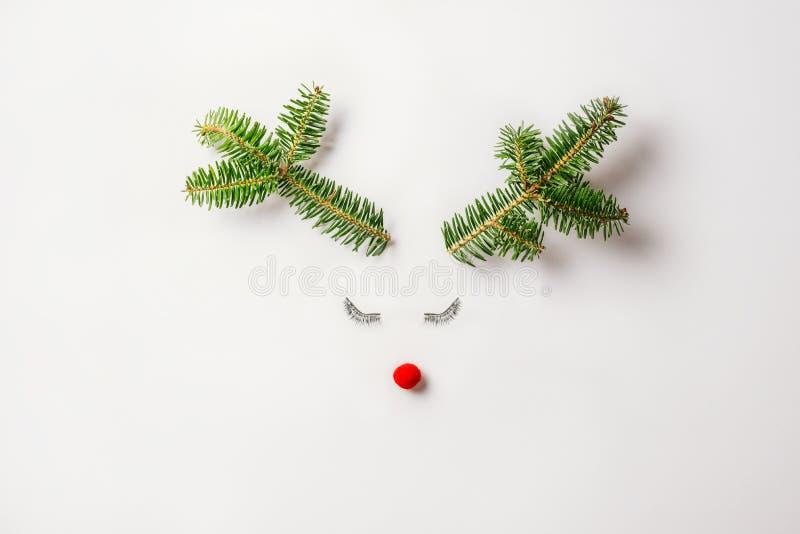 Het concept van de kerstrendieren is gemaakt van evergreen fir, bauble decoration, tabs and antlers op pastellichtachtergrond stock foto's