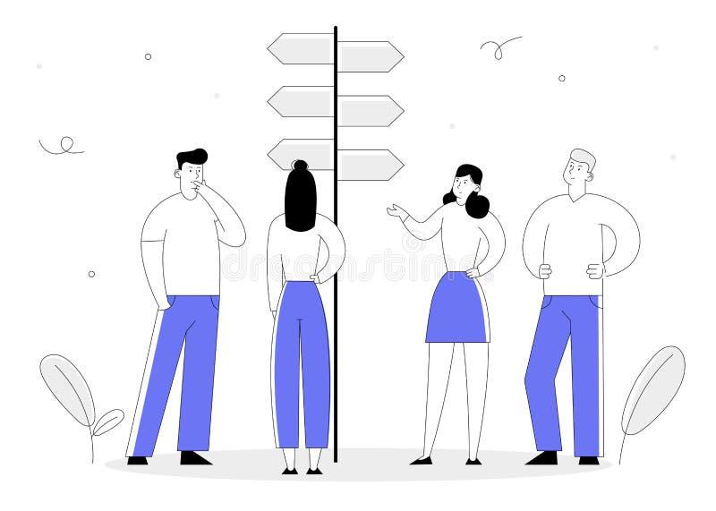 Het Concept van de keusmanier met Bedrijfsmensentribune bij Wegwijzer met Harde en Gemakkelijke Richtingen, die Besluit nemen royalty-vrije illustratie