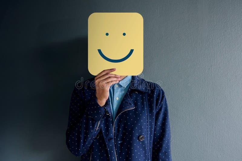 Het Concept van de klantenervaring, Portret van Cliënt met Gelukkig Gezicht stock foto's