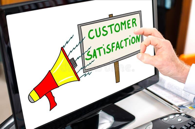 Het concept van de klantentevredenheid op een computermonitor stock afbeelding