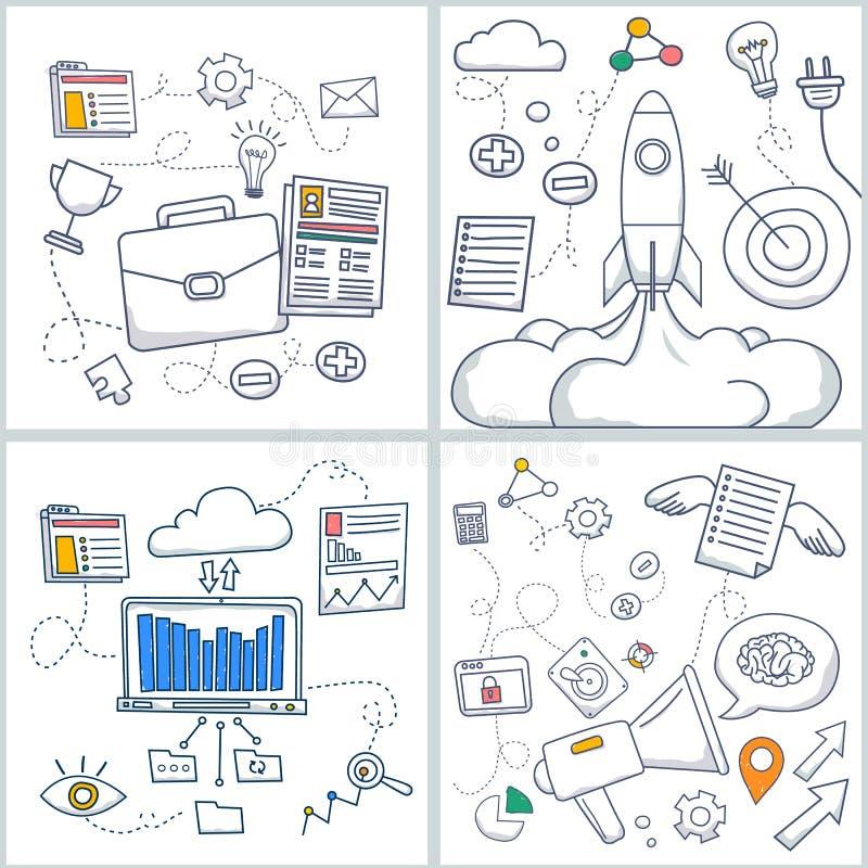 Het concept van de krabbelstijl de carrièregroei, opstarten, carrièreladder, collectieve kansen, menselijk middelbeheer Moderne l vector illustratie