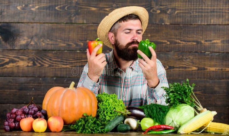 Het concept van de kruidenierswinkelwinkel Koop verse inlandse groenten Mens met baard trots van zijn houten achtergrond van oogs stock foto